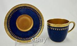 Pair of Antique Cauldon Demitasse Cups & Saucers, Gilded