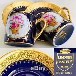 Pair of Rare Limoges Castel 24ct Gold Gilded Cobalt Blue Demitasse Cups & Saucer