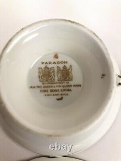 Paragon A1329 Pink Floating Rose Black Gold Lt Blue Bone China Tea Cup & Saucer