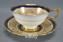 Paragon Bone China A515 Big Pink Rose Cobalt & Gold Scrollwork Tea Cup & Saucer
