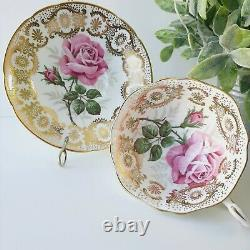 Paragon By Appointmen Her Majesty The Queen Tea Cup & Saucer Pink Rose Gold Lace