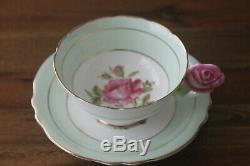 Paragon Cabbage Rose Handle Green Gold Teacup Tea Cup Saucer Flower Center