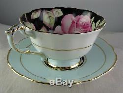 Paragon China Floating Rose Cup & Saucer Set Black Lt. Blue Gold Trim
