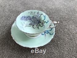 Paragon China Tea Cup & Saucer, Green, Lilac Pattern, Gold Gild