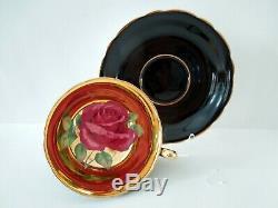Paragon Cup Saucer Large Floating Red Cabbage Rose Black Gilded Bowl Vintage