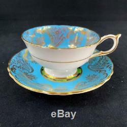 Paragon England Large Cabbage Rose Gold Filigree Turquoise Cup Saucer A1695/3