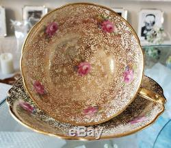 Paragon F Mini Rose Turquoise Gold G9962/2 Cup & Saucer Vintage Royal Doulton