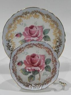 Paragon LARGE PINK FLOATING ROSE CUP & SAUCER Baby Blue and Gold Filigree MINT