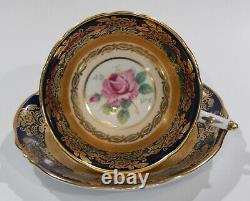 Paragon LARGE PINK ROSE CUP & SAUCER Cobalt and Heavy Gold Gilding Filigree MINT