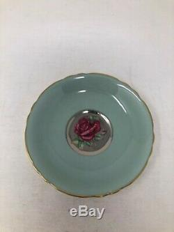 Paragon Large Floating Red Rose Center Silver Gold Trim Cup & Saucer