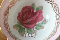 Paragon Large Red Cabbage Johnson Rose Pink Gold Trim Teacup Tea cup Saucer