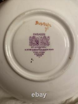 Paragon Lilac 36496/2 Double Warrant Green Background Gold Trim Cup & Saucer Set