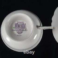 Paragon Lilac S6572/3 Double Warrant Green Background Gold Trim Cup & Saucer Set