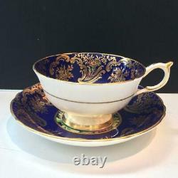 Paragon Mums Cobalt And Gold Hand Painted Tea Cup & Saucer Set Dbl Warrant Cs13