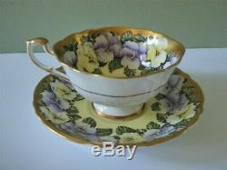 Paragon Pansy Yellow & Gold Cup & Saucer Double Warrant Mark Mint