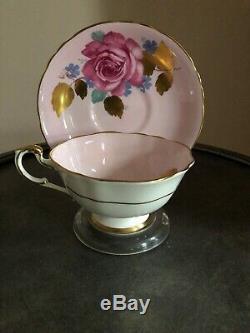 Paragon Pink Tea Cup Saucer Large Rose Heavy Gold Leaf