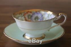 Paragon Poppy Anemone garland Gold Mint Green Teacup Tea cup Saucer