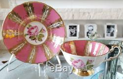 Paragon PorcelainH Rose Pink Feather Gold color Cup&Saucer Vintage Royal Doulton