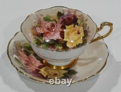 Paragon RED PINK YELLOW ROSE TRIO CUP & SAUCER Set c1938-52 Heavy Gold Gilding
