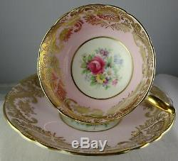 Paragon Red Rose On Pink Cup & Saucer Extensive Gold Filigree 1938-1952 Minty