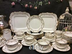 Paragon Star China Tea Set Cups Saucers Heavily Gilded Swags Jewelled Design