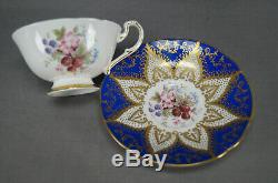 Paragon Strawberries Blackberries Cobalt & Gold Bone China Tea Cup & Saucer