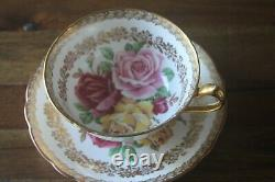 Paragon Three Large Cabbage Roses Red Pink Yellow Gold Teacup Tea Cup Saucer