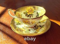 Paragon Yellow Roses Cup & Saucer Gold Trim By Appointment To Her Majesty c. 1952