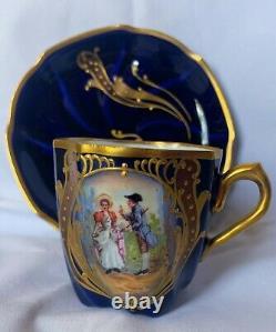 RARE 1880s VICTORIAN LIMOGES DEMITASSE CUP & SAUCER FIGURAL COBALT GOLD TRIM