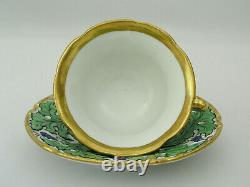 RARE ANTIQUE MEISSEN CUP & SAUCER GRAPES BERRIES LEAF DESIGN with GOLD GILT