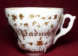 RARE Antique 1864 GERMAN MILITARY KPM HP CUP & SAUCER Gold Trim CARL PADUCH
