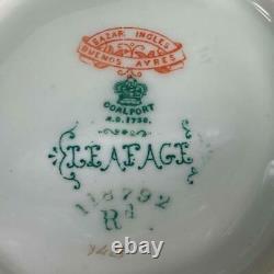 RARE Antique 1881-90 COALPORT Gold Gilt Cup LEAFAGE Beaded Handle Cup Saucer
