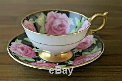 RARE Aynsley Black Cabbage Rose Teacup Tea Cup Saucer Pink Gold Gilded floating