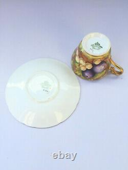 RARE Orchard Gold CUP & SAUCER AYNSLEY Vintage DUO Fruit grape hand painted Gay