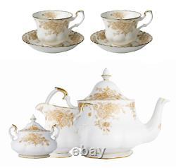 RARE TEA SET Royal Albert Old Country Roses Gold Cups Saucers Teapot Sugar Cream
