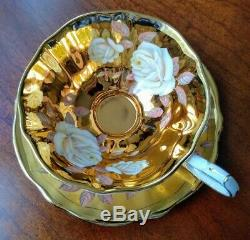RARE! Vintage Queen Anne Gold Tea Cup & Saucer White Cabbage Roses