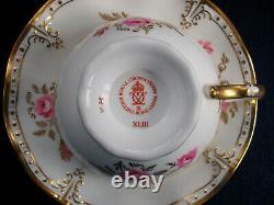 ROYAL CROWN DERBY ROYAL PINXTON ROSES A1155 (c. 1980) CUP & SAUCER- EXCELLENT