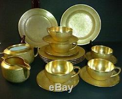 RS Germany Tillowitz Reinhold Schlegelmilch 22K Gold Tea Set Cup Saucer Antique