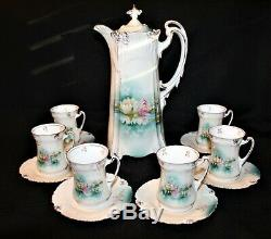 R S Prussia Reflecting Water Lily Chocolate Pot Footed 10 3/4 W 6 Cups Saucers