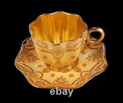 Rare Antique Coalport Raised Gold Enamel Jewels Demitasse Cup & Saucer