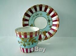 Rare Aynsley Cup Saucer Raised Gilded Flowers Rims Blue Raspberry Antique 1886