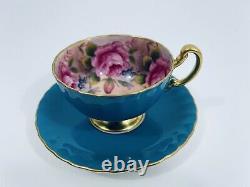 Rare Aynsley Teal Blue Tea Cup & Saucer, 4 Pink Cabbage Roses Inside, Gold Gilt