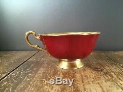Rare Beautiful Paragon A1572/1 Red Cabbage Rose Gilded Cabinet Tea Cup & Saucer