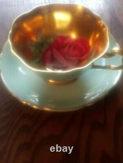 Rare Beautiful Paragon A. 2046/16 Red Cabbage Rose Gilded Cabinet Tea Cup& Saucer