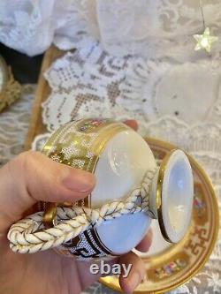 Rare Brown Westhead Moore Cauldon England Rope Handle Soup Cup Saucer set AS IS