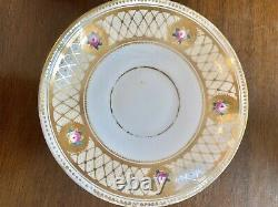 Rare Brown Westhead & Moore Raised Bead Gold HP Flower Tea Cup Saucer Set