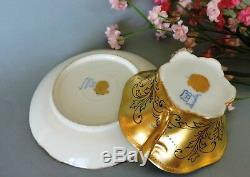 Rare Dresden hand painted jeweled & gold cabinet Cup & Saucer