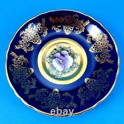 Rare Hand Painted Pansy on Gold with Cobalt Border Paragon Tea Cup and Saucer