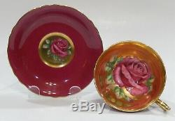 Rare PARAGON Cup & Saucer FLOATING RED ROSE COMPLETELY GOLD GILDED INTERIOR