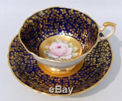 Rare PARAGON FLOATING PINK ROSE CUP & SAUCER COBALT & GOLD Hand Painted c1960s